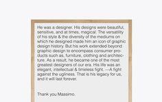 Timeless Massimo Vignelli on Behance