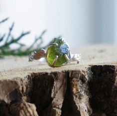 Large Raw Peridot Cocktail Silver Ring, Leaf Band Green Gemstone, Unique August Gift, Healing Crystal, Size 7.25 to 8.5