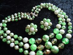 SALE Vintage Green 3 Strand Beaded Necklace by MartiniMermaid