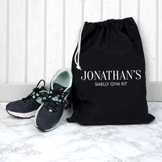 Look no further! Made from soft cotton this drawstring gym bag is the perfect way for him to store his dirty football bootsshin pads and smelly socks. Easily wash the bag at 60 degrees after each use – much less fuss . Custom Football Boots, Personalised Gifts For Him, Kids Bags, Bag Storage, Black Boots, Gym Bag, Dads, 60 Degrees, Kitchen Sink