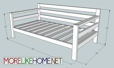 "More Like Home: Day 31 - Build a Simple Modern Sofa With 2x4s, just needs to be 72"" or less."