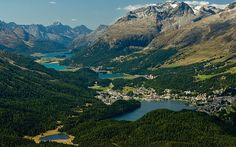The Engadin with St. Moritz on the right. Long Valley, Bernina Express, Sils Maria, Switzerland Hotels, St Moritz, Top Of The World, Alps, Continents, Places