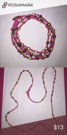 Wrap bracelet! Pink wrap around bracelet with gold beads!! So cute, can also be worn as an anklet or necklace! Jewelry Bracelets