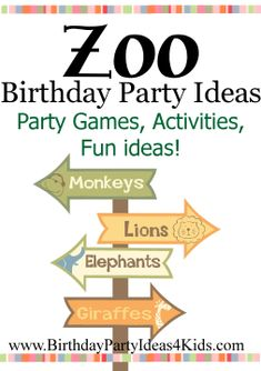ZOO theme Birthday Party Ideas Fun party games, activities and more for a Zoo themed birthday party! For kids, tweens and teens ages 17 and 18 years old. ideas for 13 year olds Birthday Party Games For Kids, Safari Birthday Party, Fun Party Games, Animal Birthday, Birthday Ideas, Birthday Fun, Party Party, Birthday Parties, Safari Party
