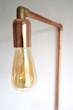DIY lamp van koperen buizen