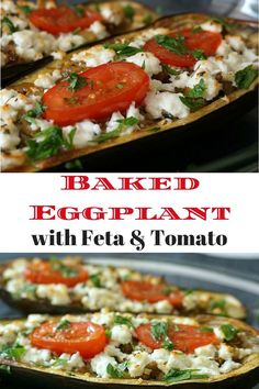Roasted Eggplant (or Aubergine) with feta cheese and tomato. Delicious and easy to make. Click to get the recipe!