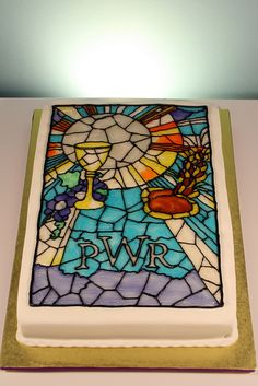 Pretty Cake - for someone else to make?    Stained Glass First Communion