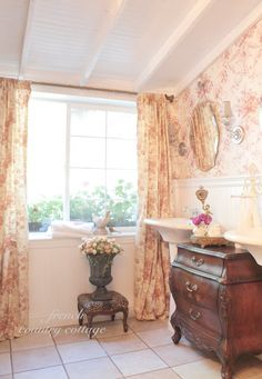 french cottage toile, bathroom ideas, home decor, New red floral toile panels Romantic Cottage, French Country Cottage, French Country Style, Cottage Style, Coastal Cottage, Country Life, French Decor, French Country Decorating, Romantic Bathrooms