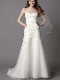 ivory wedding dresses with no trains | ivory-taffeta-strapless-chapel-train-wedding-dress-with-beaded-flower ...