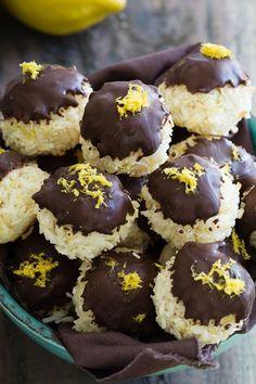 Paleo Lemon Macaroons. Bursting with bright lemon flavor and dipped in dark chocolate!