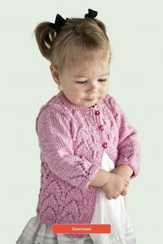FREE Valentine's baby cardigan knitting pattern - at LoveKnitting! Free Aran Knitting Patterns, Baby Cardigan Knitting Pattern, Knitted Baby Cardigan, Knit Baby Sweaters, Knitted Baby Clothes, Free Knitting, Aran Sweaters, Knitting Sweaters, Knitted Bags