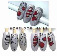 Regran_ed from zheldor_nails ? Nail Noel, Cute Christmas Nails, Holiday Nail Art, Xmas Nails, New Year's Nails, Winter Nail Art, Christmas Nail Art, Winter Nails, Diy Nails