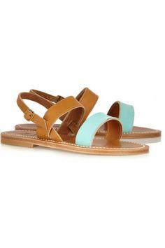 K Jacques St Tropez|Leather and suede sandals|NET-A-PORTER.COM