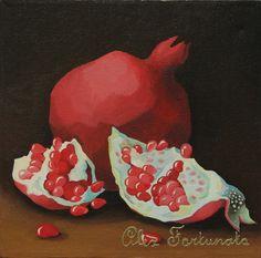 Pomegranate (№3), oil painting, size 20x20cm. Oil Paintings by Alexey Volgutskov.