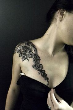 lace clavicle tattoo - 35 Cute Clavicle Tattoos for Women  <3 <3