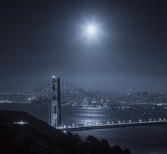 Moonlit bay with the Golden Gate in the forefront, San Francisco —B.N.