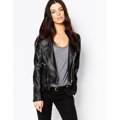 Brave Soul PU Biker Jacket With Fringing ($55) ❤ liked on Polyvore featuring outerwear, jackets, black, black fringe jacket, moto zip jacket, biker jacket, black jacket and moto jacket