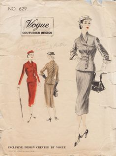 Vogue Couturier Design 629 / Vintage 50s designer Sewing Pattern / Jacket Skirt Suit / Size18 Bust 36