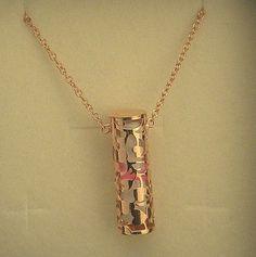 Collana con nome in argento 925 traforata a mano con tormalina naturale rosa
