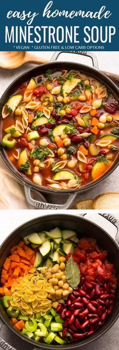 Homemade Minestrone Soup – the perfect easy comforting meal on a chilly day.Homemade Minestrone Soup – the perfect easy comforting meal on a chilly day. Best of all, this classic stove-top recipe is hearty & full of fresh vegetables like carrot Crock Pot Recipes, Stove Top Recipes, Easy Soup Recipes, Healthy Diet Recipes, Delicious Vegan Recipes, Cooker Recipes, Veggie Soup Recipes, Carrot And Celery Recipes, Vegan Vegetable Soup