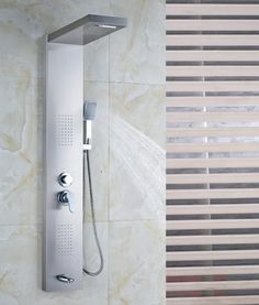 Sentinel Brushed Nickel Mage Shower Panel System With Head Body Jets
