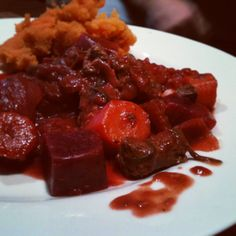 Slow cooked organic lamb & beetroot casserole with sweet potato mash