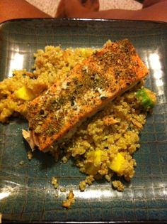 Herb baked salmon. Quinoa and ferrel with okra and squash.