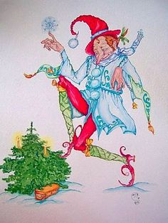 """Christmas Elf"" original watercolor illustration from artist Marina Sciascia (USA)"