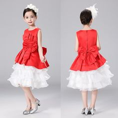 Fashion Girls Dress Sleeveless Bowknot Bubble Princess Dress Cute Wedding Party Ball Gown Knee Length Clothing for Kids