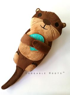 Otter: Plush Sea Otter, Stuffed River Otter, Fish, Sea, Ocean, Lake, Aquatic, Toys, Kids, Kawaii, Shells by TheHuggableHoots on Etsy https://www.etsy.com/listing/386744182/otter-plush-sea-otter-stuffed-river