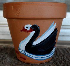 Swans 6 inch flower pot acrylic