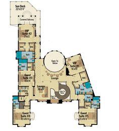 second floor -- Plan Top-Of-The-Line Mediterranean Villa (Architectural Designs) Luxury House Plans, Best House Plans, Country House Plans, Dream House Plans, Modern House Plans, Small House Plans, House Floor Plans, Interior Exterior, Interior Columns