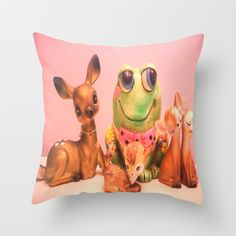 frog and friends Throw Pillow by Vintage  Cuteness - $20.00 #vintage deer #fawn #frog #kitsch #childrens #kawaii #pink #decor #pillow