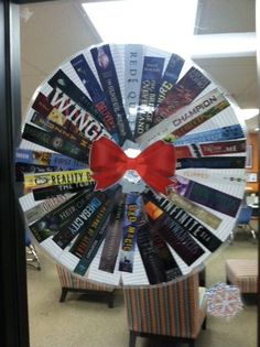 Library book wreath
