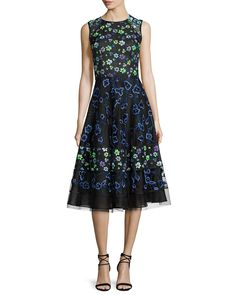 Oscar de la Renta Floral-Embroidered Sleeveless Cocktail Dress, Black/Multi