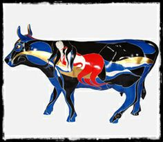 COW PARADE HARRISBURG,  Artist: Yesid Gomez / Disey Zemog, Acrylic and 24 Karats Gold Leaf on Fiber Glass Casting. Private Collection