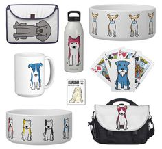 Check out Dog Breed Cartoons. They've got sweet little cartoon representations of literally (literally) hundreds of dog breeds, and in their shop you can find your favorite breed cartoon featured on anything from coffee mugs to belt buckles to laptop sleeves.