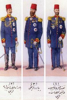 II. Abdülhamid devri ferik kıyafetleri (M. Şevket Paşa, Osmanlı Teşkilât ve Kıyâfet-i Askeriyyesi İ.Ü Ktp., TY, nr. 4423)