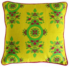 A yellow floral and magenta flowers cushion cover. Make your home feel like a garden <3