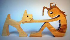 """sculpture bois chantourné """"punk à chat"""""""