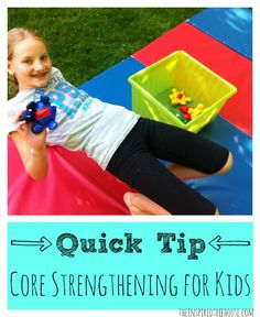 A core strengthening exercise that you will often see in therapy gyms.  It's awesome for all over strengthening and it's FUN!  See our video demonstration.  #corestrengtheningforkids #strengtheningforkids #videodemo #childdevelopment #pedipt