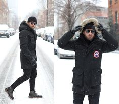 Canada Goose Fur Hooded Coat, Blk Dnm Black Pants, Boots, Mykita Sunglasses Source by alifetailored outfits men Fur Coat Outfit, Snow Outfit, Winter Layering Outfits, Winter Fashion Outfits, Mens Winter Boots, Winter Jackets, Goose Clothes, Canada Goose Mens, New York Winter