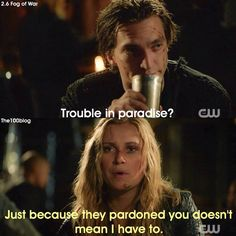 """#The100 2x06 """"Fog of War"""" - Murphy and Clarke. I love that in this scene Clarke is asserting her power. Like she may by technically be in charge at Camp Jaha but she's still a leader."""