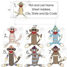 Sock Monkey Return Labels - this may make me send more mail.