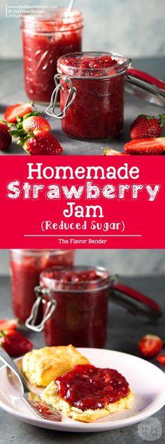 Homemade Strawberry Jam with reduced sugar and NO store-bought pectin! Made with overripe strawberries, apples and sugar, this Jam is the perfect breakfast spread via @theflavorbender