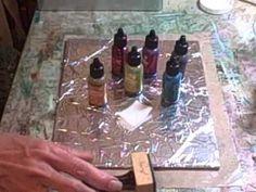 tin foil alcohol ink technique - YouTube