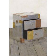 Aluminium and Copper Bedside Cabinet, Silver/Copper