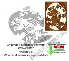 This fretwork scroll saw woodworking pattern features a chipmunk standing on its hind legs munching on some goodies. This pattern is very delicate and must be cut and handled very carefully. A spiral ...