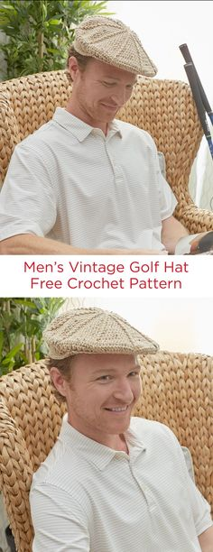 Men's Vintage Golf Hat Free Crochet Pattern in Red Heart Yarn -- Perfect for the golf course or for a drive in his convertible, this hat will please men with a sense of style. It won't take long to crochet in Super Saver and you have a choice of over 140 colors!