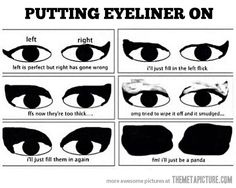 We share our top tips for how to apply top eyeliner. Learn from our makeup tutorials on applying liquid eyeliner and how to apply pencil eyeliner. Haha, Have A Laugh, Girl Problems, Desi Problems, Dancer Problems, Just For Laughs, How To Apply, How To Make, Laugh Out Loud